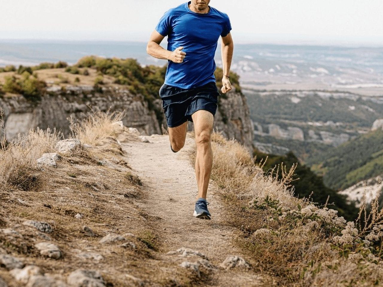 Man running on trails